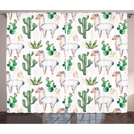 Cactus Decor Curtains 2 Panels Set Hot South Desert Plant Pattern With Camel Animal