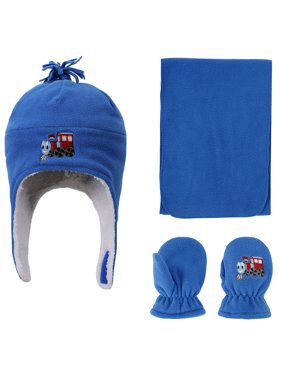 Boys Sherpa Lined Train Embroidered Fleece Hat and Gloves Set, L 5-7 Years