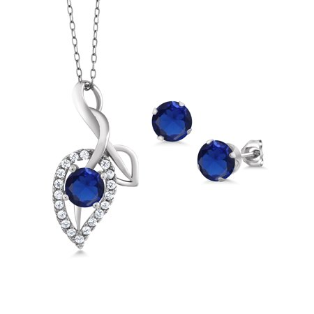 2.06 Ct Round Blue Simulated Sapphire 925 Sterling Silver Pendant Earrings Set Blue Sapphire Set Earrings