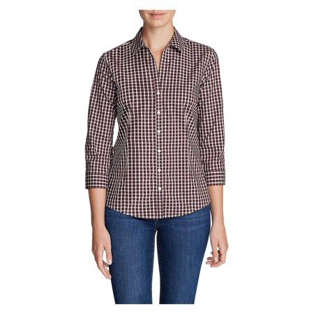 Eddie Bauer Women's Wrinkle-Free 3/4-Sleeve Shirt - Print (Womens White Denim Shirt)