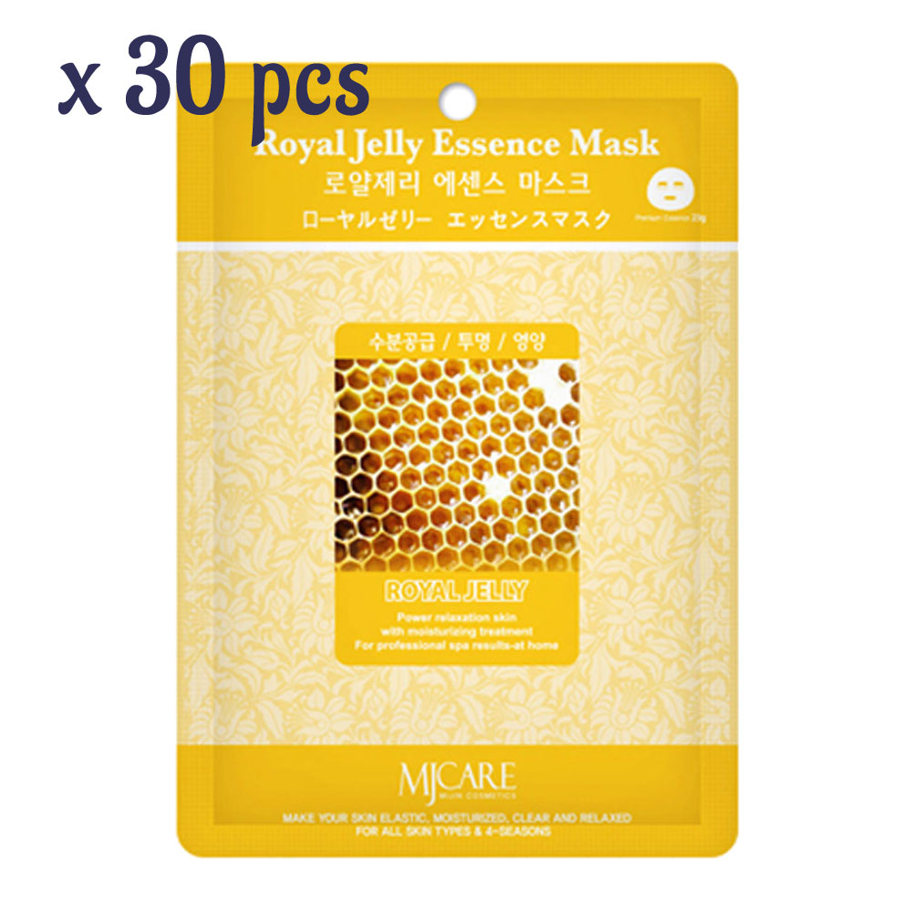 Pack of 30, The Elixir Beauty MJ Korean Cosmetic Full Face Collagen Royal Jelly Essence Mask Pack Sheet for Vitality, Clarity, Mosturizing, Relaxing