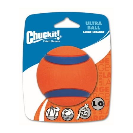Chuckit! Ultra Dog Ball Bounces and Floats Bright Orange and Blue Large