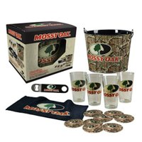 Mossy Oak Camouflage 4-Pint Glass Set with Bucket, Coasters, and more MO-68700 by Ace Products