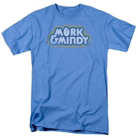 Trevco Mork & Mindy-Distressed Mork Logo - Short Sleeve Adult 18-1 Tee - Carolina Blue, 2X ()