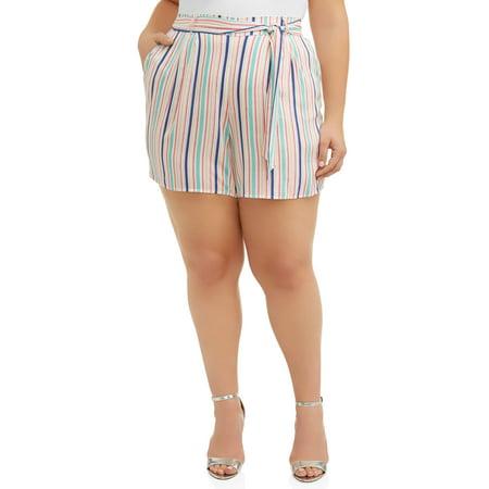 Cherokee Women's Plus Size Printed Soft Short with Tie Belt Cherokee Newborn Girls Short