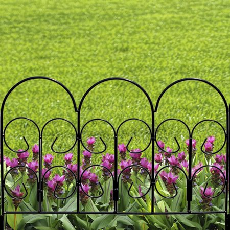 Expert Gardener Iris Black Powder Coated Steel Garden Border 16 inches H x 18 inches W