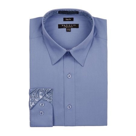 Marquis Men's Slim Fit Long Sleeve  Button Down Dress Shirt with Contrast Trim
