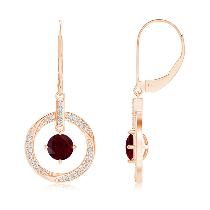 Angara Garnet Leverback Drop Earrings in Rose Gold WvJpMkM