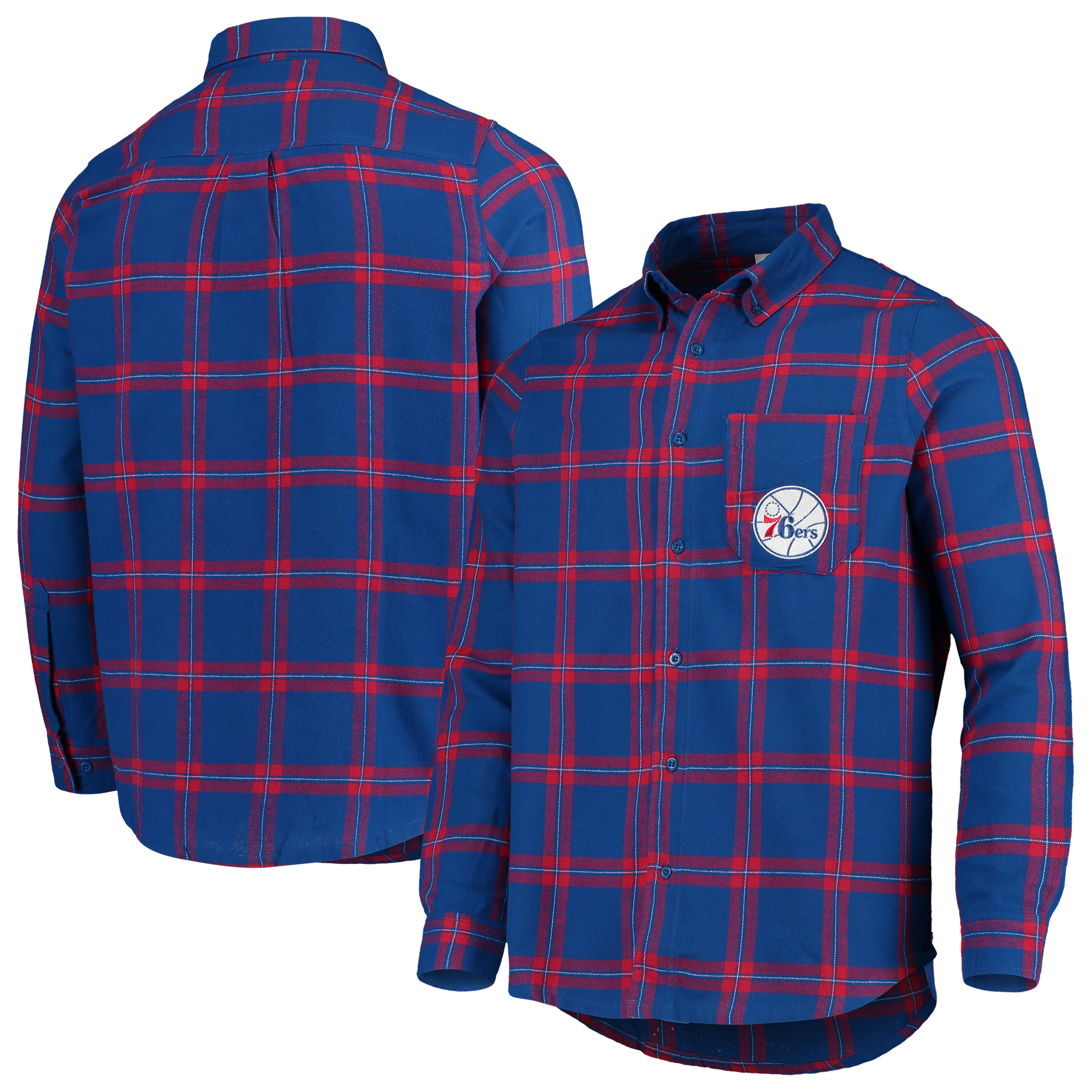 Philadelphia 76ers Concepts Sport Homestretch Flannel Long Sleeve Button-Down Shirt - Royal