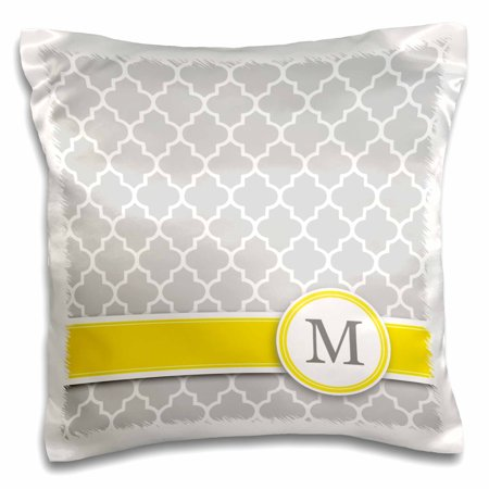 3dRose Your personal name initial letter M - monogrammed grey quatrefoil pattern - personalized yellow gray, Pillow Case, 16 by 16-inch (Monogram M)