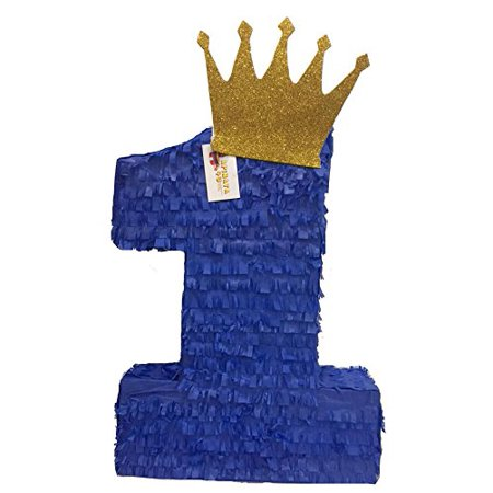 APINATA4U Royal Blue & Gold Crown Number One Pinata
