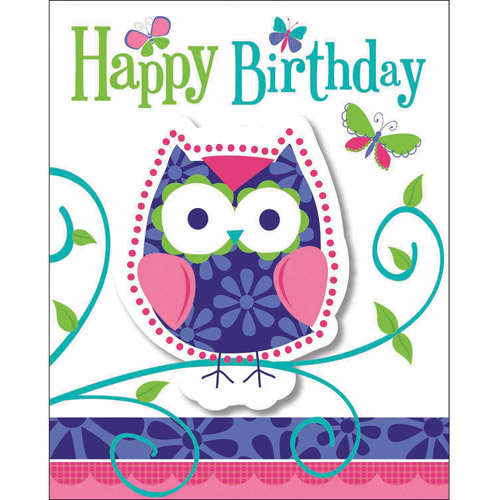creative converting owl pal birthday invitations, 8pk - walmart, Birthday invitations