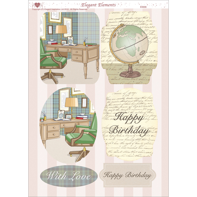 "3D Die-Cut Decoupage Sheet 8.3""X11.69""-Men's Desk"