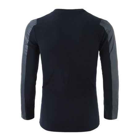 Men Round Neck Long Sleeve Ribbed Design Slim Top Shirt Navy Blue S - image 5 of 6