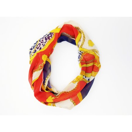 Amtal Women Multicolor Chains Crown Design Lightweight & Soft Infinity Scarf