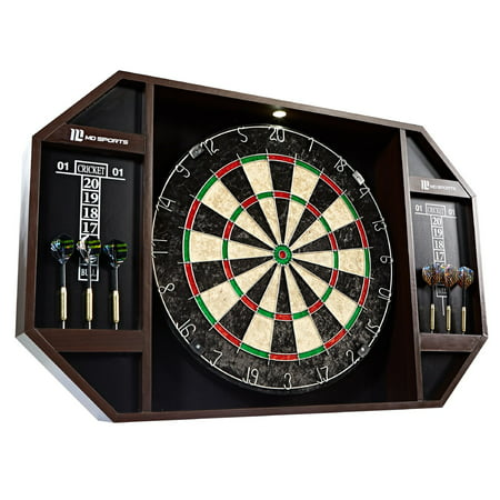 MD Sports Bristle Dartboard Cabinet Set with LED Light and 6 Steel Tip Darts, Self-healing Sisal board,