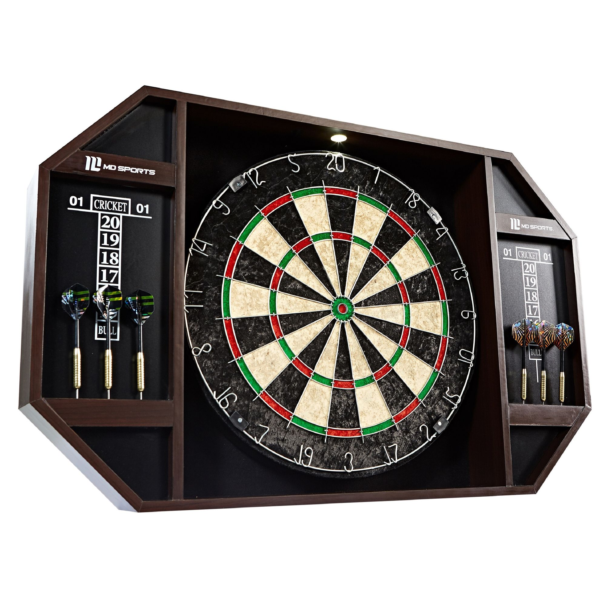 MD Sports Bristle Dartboard Cabinet Set with LED Light and 6 Steel Tip Darts, Self-healing Sisal board, Pre-assembled