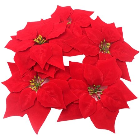 50 Pieces Artificial Wedding Christmas Flowers Poinsettia Christmas Tree Wreath House Ornaments Dia 8 Inch ()
