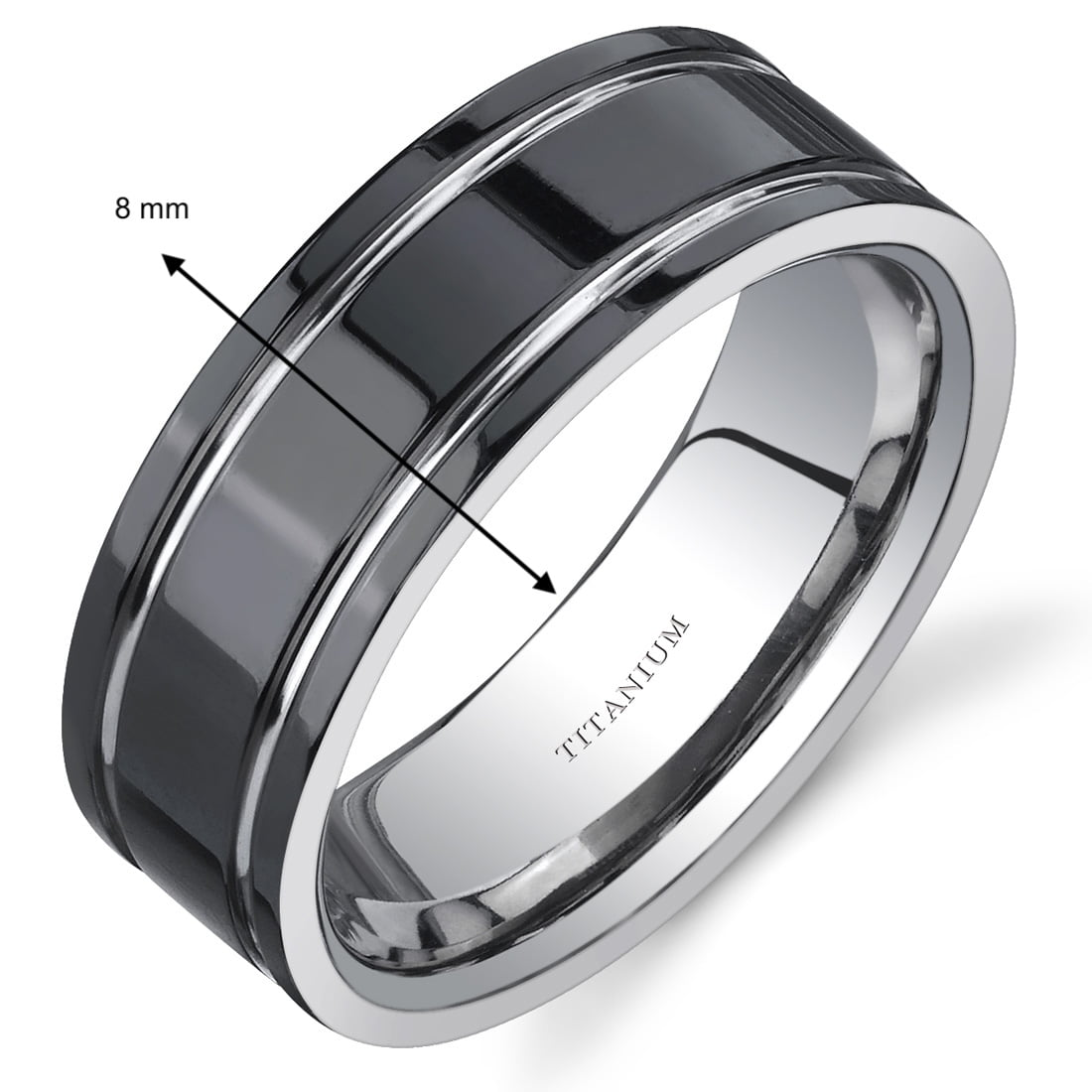 Oravo Men S 8mm Black And Silver Tone Comfort Fit Wedding Band