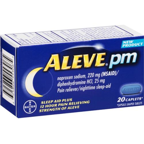 Aleve PM Pain Reliever Nighttime Sleep-Aid Caplets, 20 ea (Pack of 2)