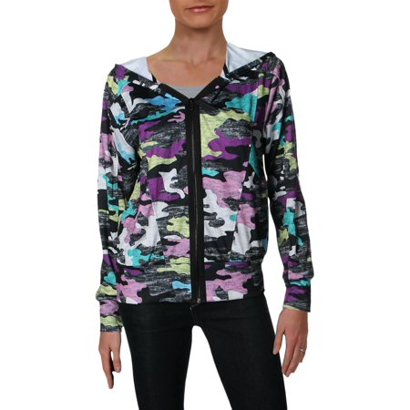 Zara Terez Womens Camouflage Zip-Front Hoodie Black S - Zara Terez Kids