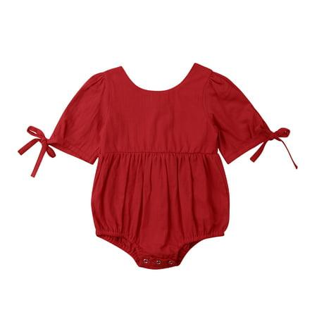 ff778e490 Baby Girl Romper Bodysuit Newborn Infant Short Sleeve Ruffle Cotton One  Piece Shirt Top Outfit Clothes 0-24M - Walmart.com