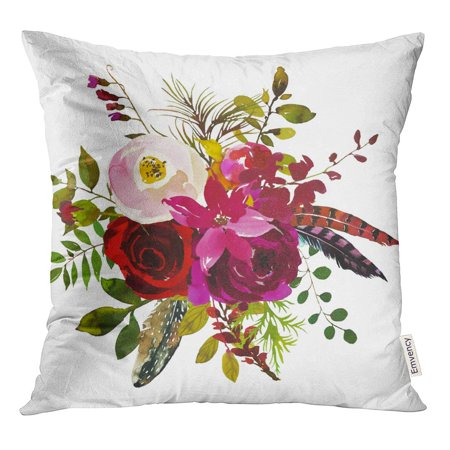 STOAG Watercolor Boho Burgundy Red White Magenta Floral Round Bouquet Throw Pillowcase Cushion Case Cover 16x16 inch ()