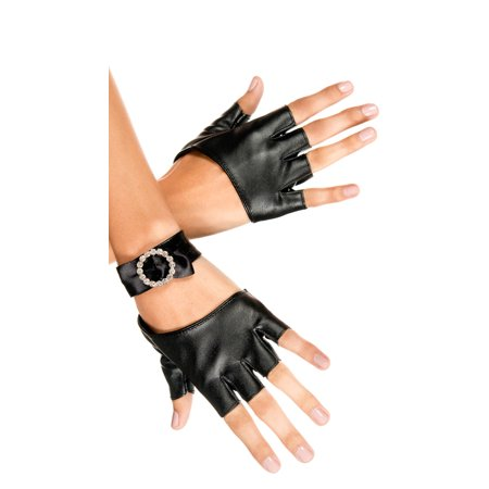Music Legs Women's Metallic Fingerless Gloves with Rhinestone Wrist Band, Black, One Size