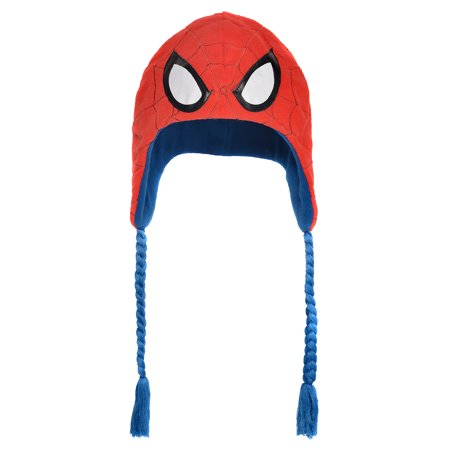 Suit Yourself Spider-Man Peruvian Hat for Children, One Size, Features Spidey's Eyes on Red with Webs and Blue Cords