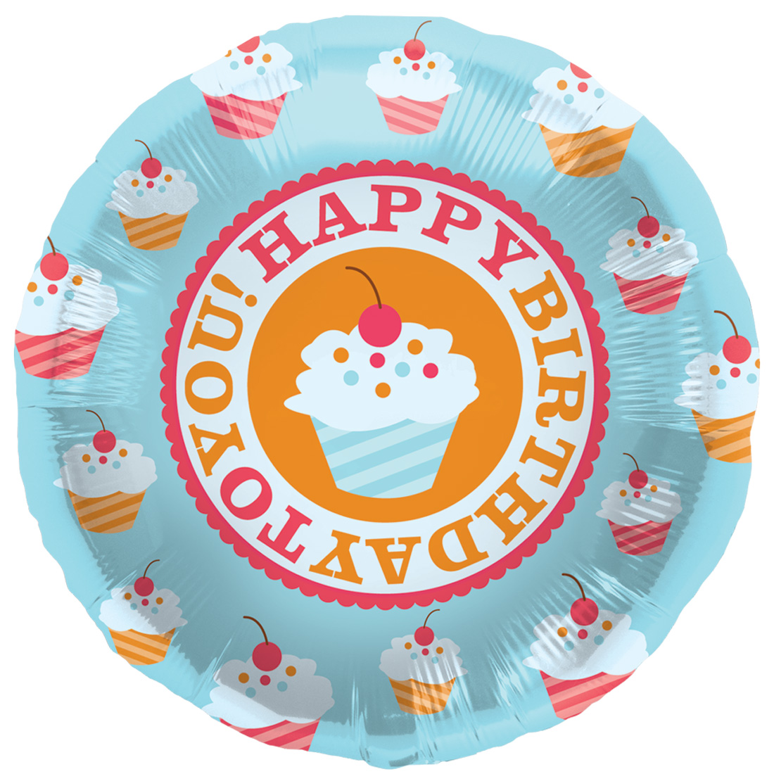 "Northstar Happy Birthday to You Cupcakes 18"" Foil Balloon, Blue Orange"