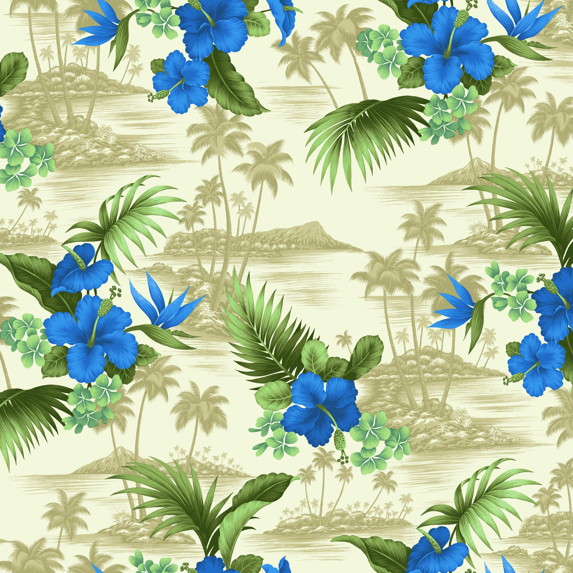 "DAVID TEXTILES SCENIC TROPICAL COTTON POPLIN FABRIC BY THE YARD 44"" WIDE"
