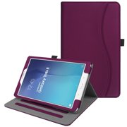 For Samsung Galaxy Tab E 9.6 Case, Fintie Multi-Angle Viewing Stand Cover with Card Pocket Auto Sleep/Wake, Purple