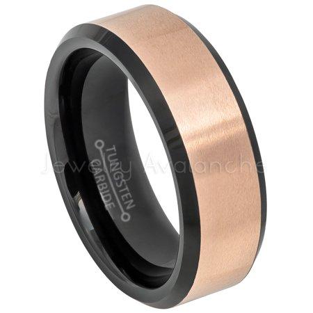 Black & Rose Gold IP Tungsten Wedding Band, Unisex 2-Tone Tungsten Carbide Ring