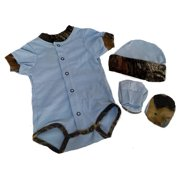 e9408faa5 Baby Blue with Mossy Oak Camo Accents Bodysuit Hat and Booties Set (3-6