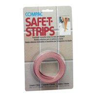 Compac Home Safe-T-Strips Adhesive Non-Slip Bath Treads to Help Prevent Falls, Bathtub Decals, 17in Long, 8 Count