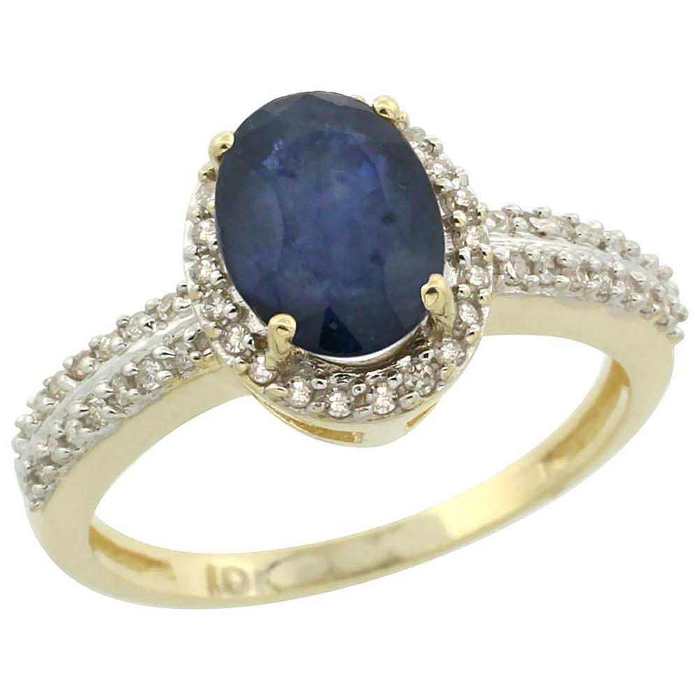 14K Yellow Gold Natural Australian Sapphire Ring Oval 8x6mm Diamond Halo, size 10 by Gabriella Gold