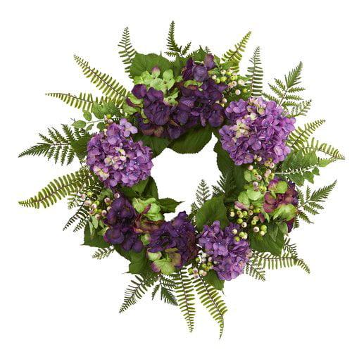 One Allium Way 24'' Hydrangea Berry and Green Leaves Wreath