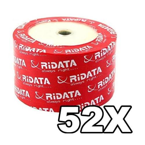 100 Ritek Ridata 52X CD-R 80min 700MB White Inkjet Hub Printable