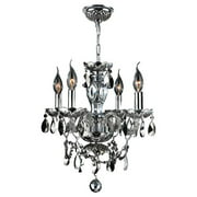 "Worldwide Lighting W83103C17-AM Chrome Provence 4 Light 1 Tier 17"" Chrome Chandelier"