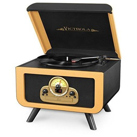 Victrola Tabletop Nostalgic Bluetooth Wooden Turntable Entertainment Center