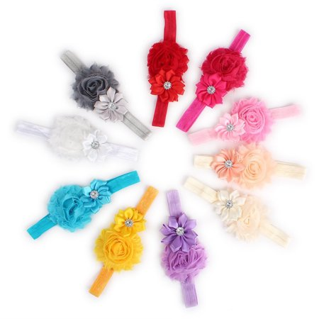 Clearance 10 Colors Beautiful Baby Infant Girls Sparkling Rhinestones Decor Two Silk Flowers Headband Hair Band Hair Accessories Photo - Silk Rhinestone