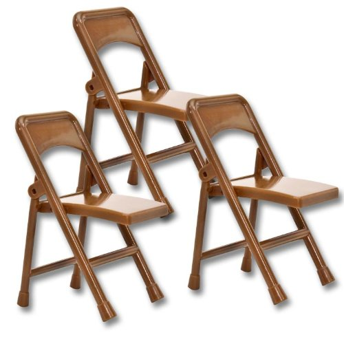 Set of 3 Brown Plastic Toy Folding Chairs for WWE Wrestling Action Figures