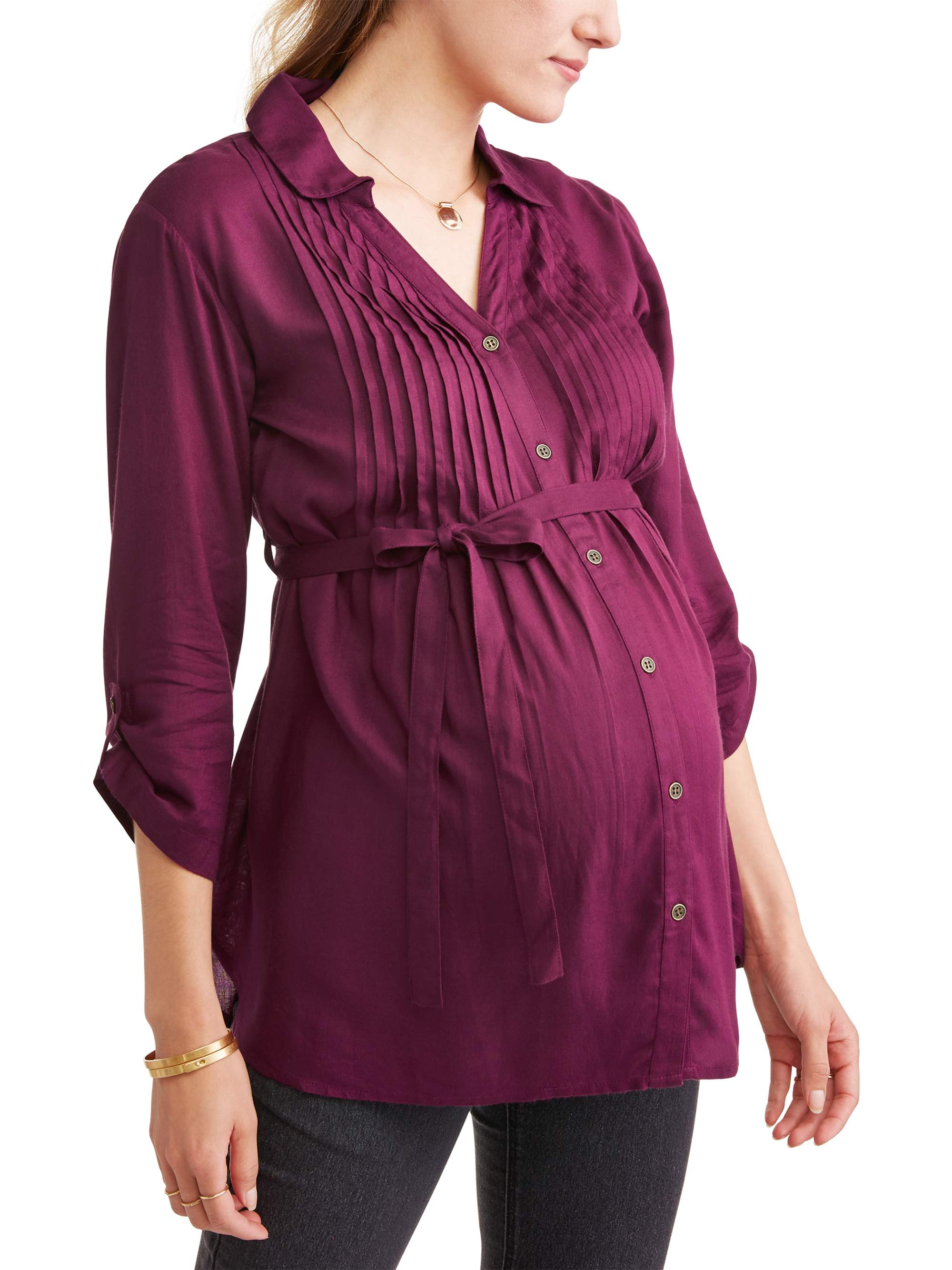 Maternity Collared Button Up Tie Waist Pleated Front Top - Available in Plus Sizes