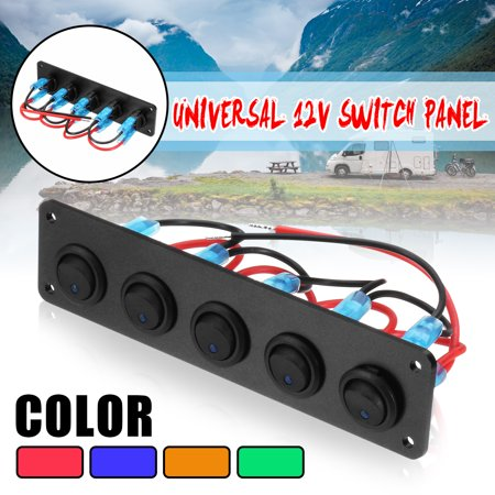 12V/24V 5 Gang On/Off  LED Rocker Switch Panel Car Marine Boat Circuit Breaker ()
