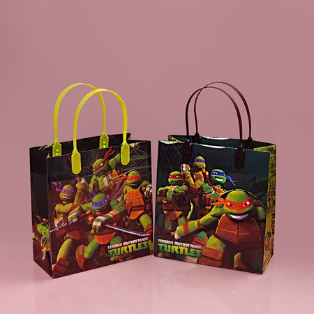 Ninja Turtle Gift Bags Kid Party Bags Plastic Gift Bags | Quantity: 12 | Width: 7 1/2