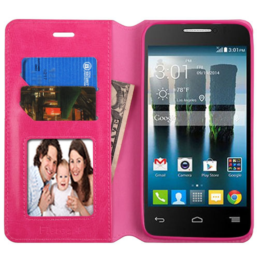 Insten Folio Leather Fabric Stand Card Case w/Photo Display For Alcatel One Touch Allura / Fierce 4 / Pop 4+ - Hot Pink - image 1 of 3