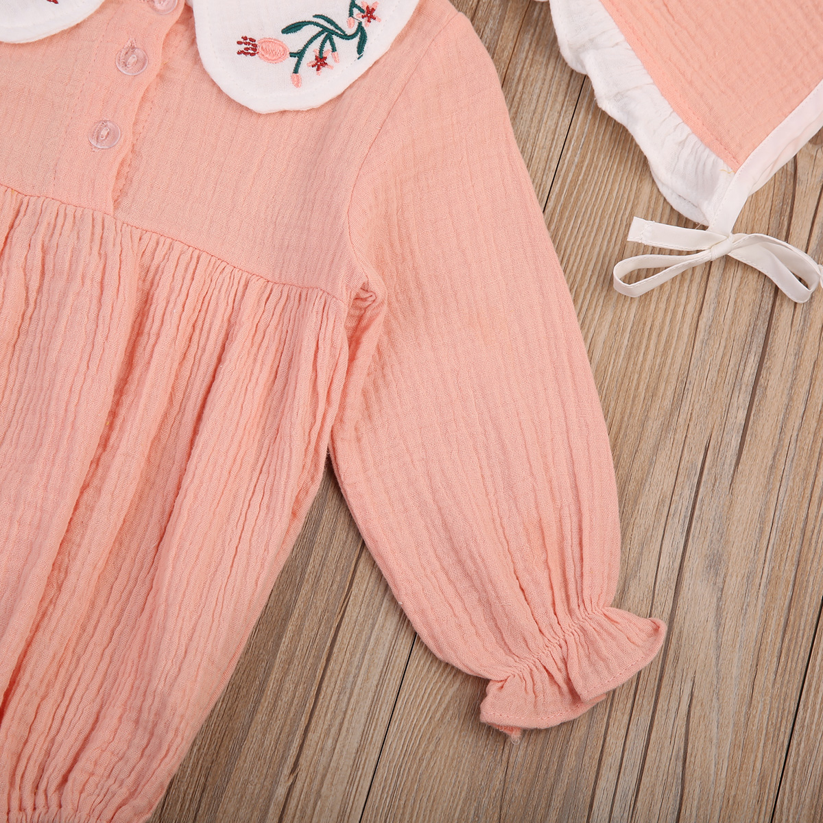 cd762663f8fe Gaono - 2PCS Baby Girls Spring Outfits Long Sleeve Embroidery Peter Pan  Collar Romper Jumpsuit+Hat - Walmart.com