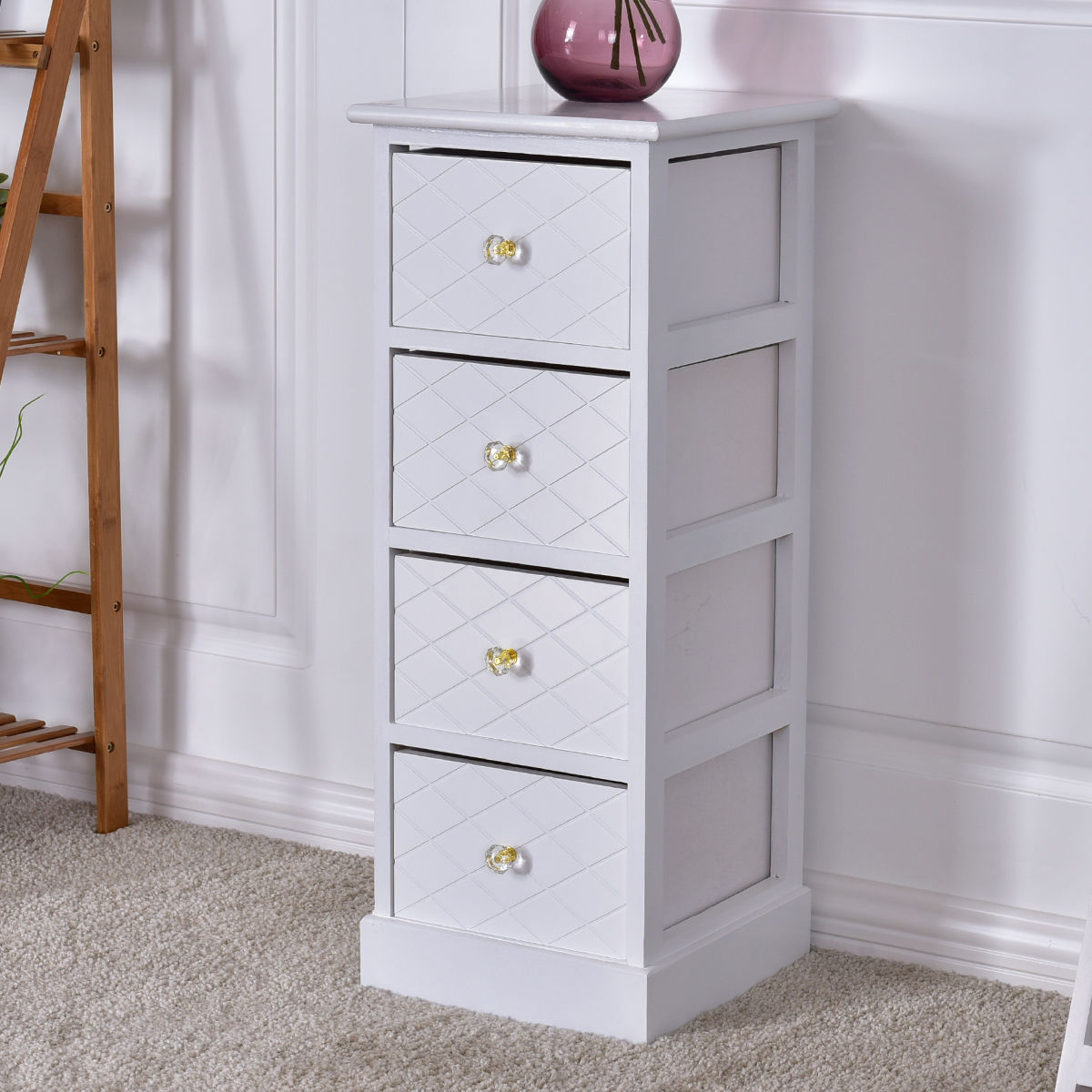 Costway 4 Drawer Cabinet Wooden Bedside Chest Table Storage End Table  Furniture