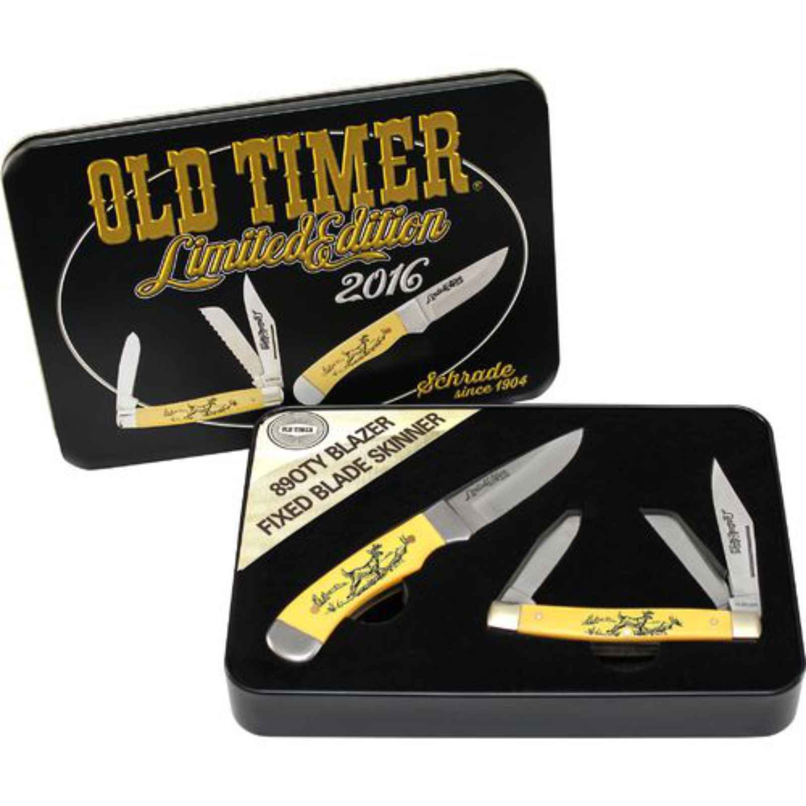 Schrade Old Timer Scrimsaw Gift Set With Skinner and Stockman , SCPROM-16-32CP