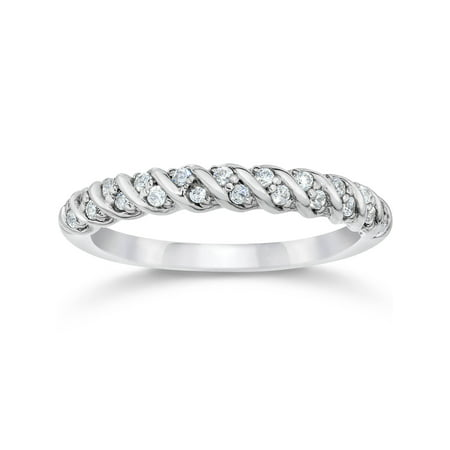1/4ct Diamond Wedding Ring Stackable Braided Womens White Gold Band